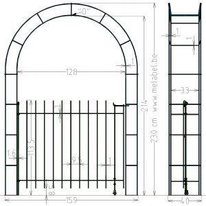 Porte à simple battant, anneau-115 dans l'arche largeur 129 cm.