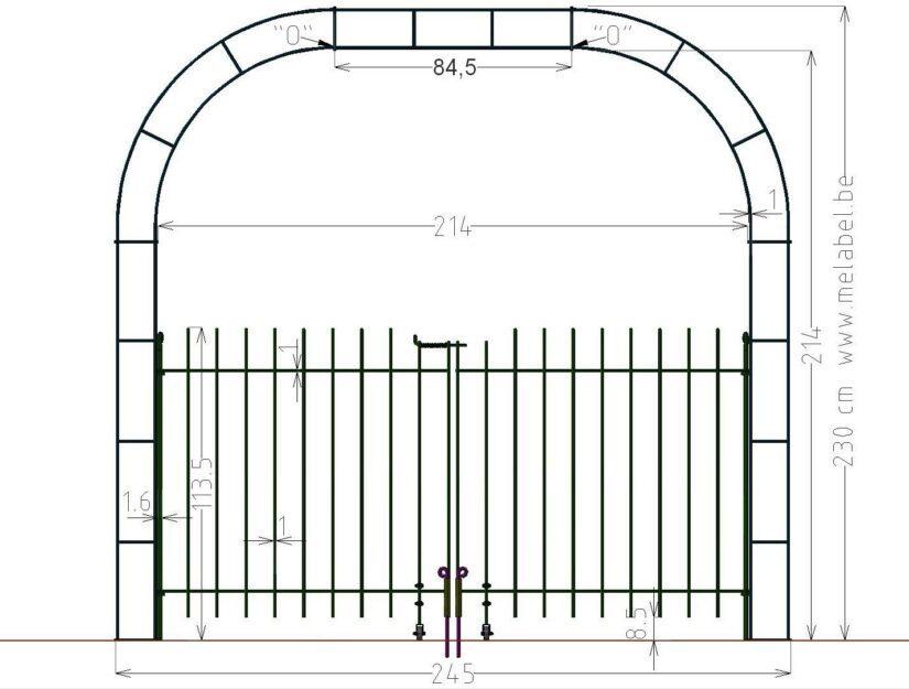 Maße vom 214 cm breiten Rosenbogen mit Verbreiterung und dem Tor 115 cm hoch.