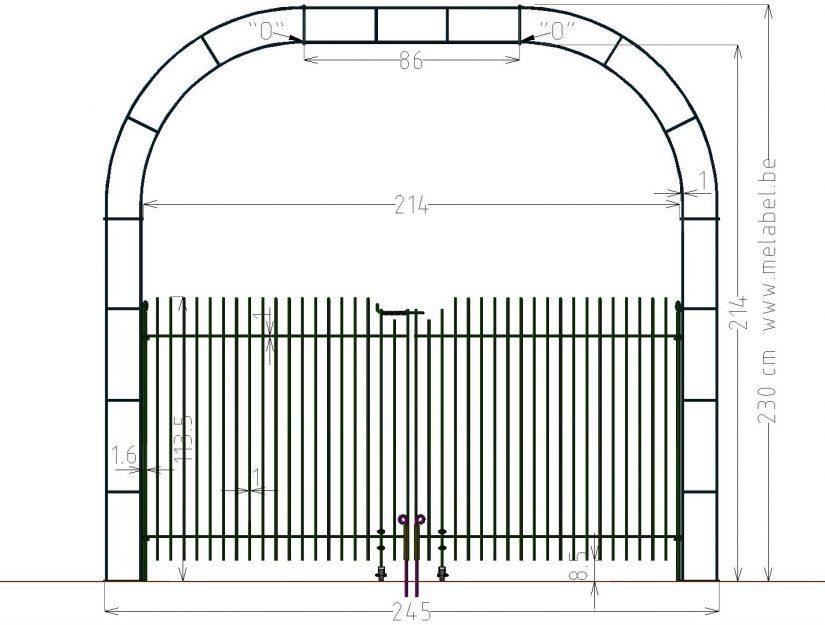 Porte à double battant, engmaschig-115 dans l'arche largeur 214 cm.