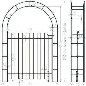 Porte à simple battant, anneau-145 dans l'arche largeur 129 cm.