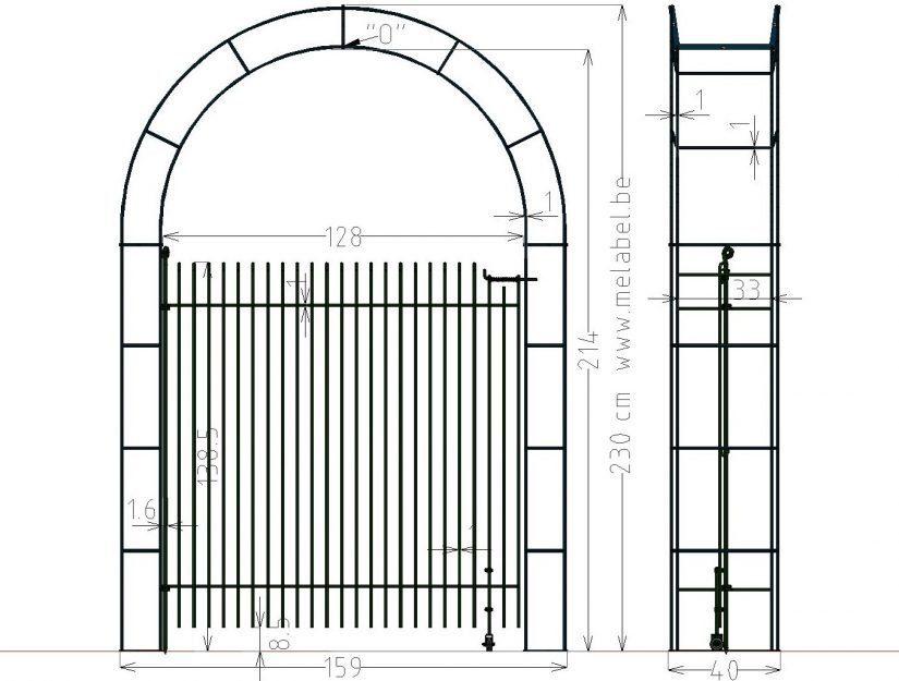 """Einflügeliges Tor """"engmaschig"""" im Rosen-Bogen 128 cm breit 145 cm hoch"""