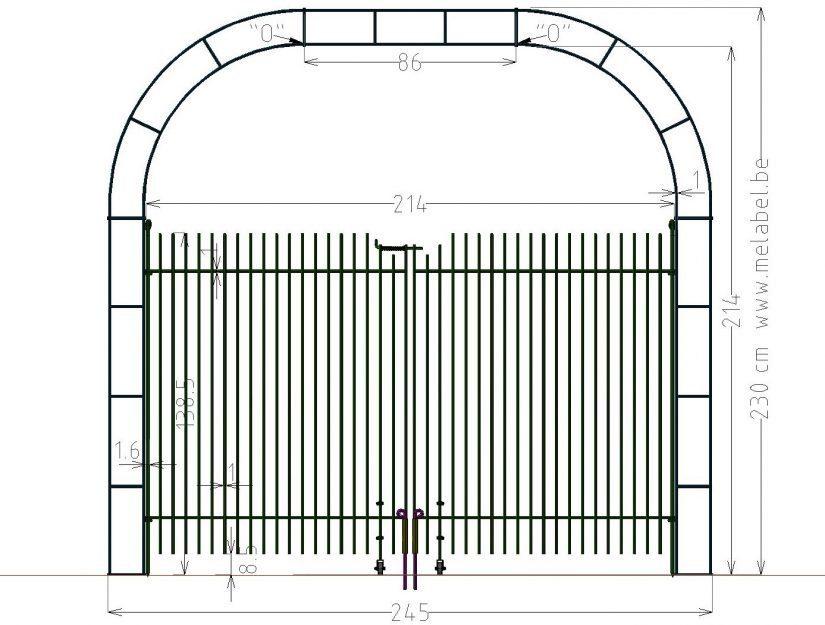 Porte à double battant, engmaschig-145 dans l'arche largeur 214 cm.