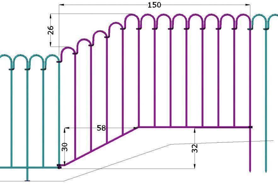 Das Bachlaufelement Überbrückt einen Höhenunterschied von 32 cm bis zum tiefer gelegenen Terrassenelement