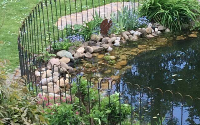 Teich mit Zaun