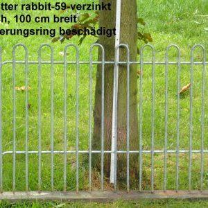 Kleintiergitter rabbit-59-verzinkt, 59 cm hoch, 100 cm breit, Loch Sicherungsring beschädigt