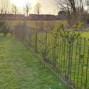Zaun aus rostendem Eisen vor der Kirschlorbeer-Hecke