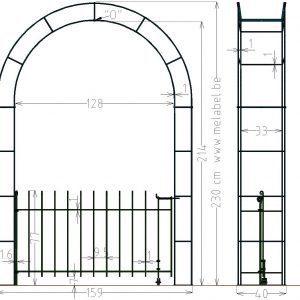Porte à simple battant, anneau-80 dans l'arche largeur 129 cm.