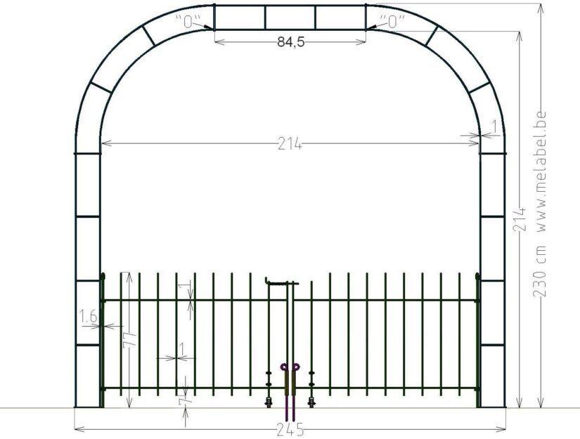 Maße vom 214 cm breiten Rosenbogen mit Verbreiterung und dem Tor 80 cm hoch.