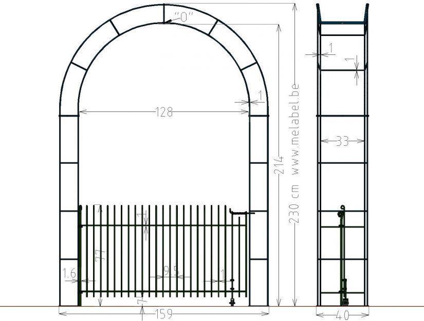 """Tür """"engmaschig"""" im Rosen-Bogen 128 cm breit 80 cm hoch"""
