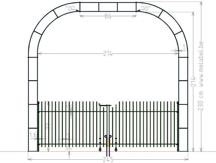 Porte à double battant, engmaschig-80 dans l'arche largeur 214 cm.