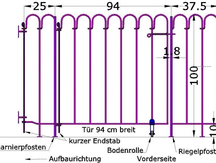 Wandhalter, Element 25cm, 94 cm breite Tür, 37,5 cm breites Terrassenelement.