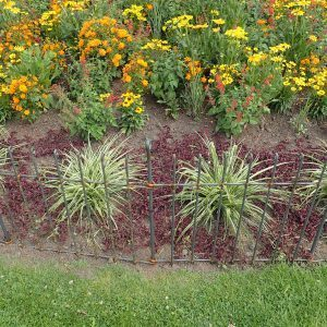 Eisenzaun um Blumenbeet Beetzaun, Stadt, Zaun, flexibel