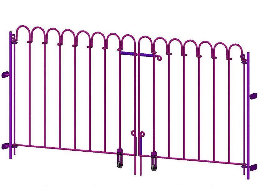 Double porte avec ailes asymétriques et poteaux pour chevilles (sur mesure).
