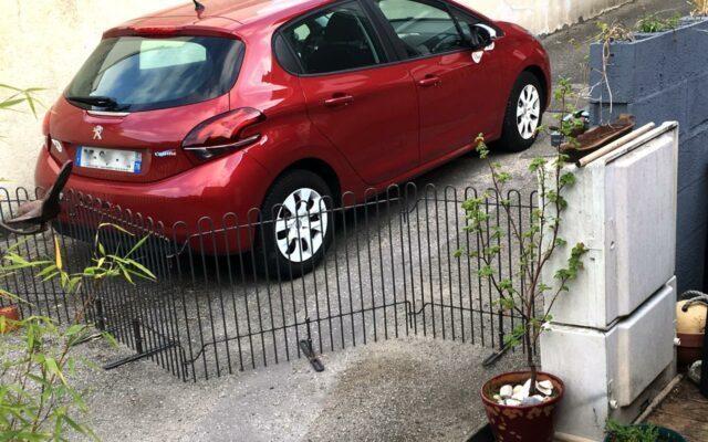 Hunde-Gitter als Absperrung in der Einfahrt