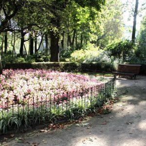 Une clôture en acier simple pour protéger les fleurs dans le parc Cinquantenaire à Bruxelles.