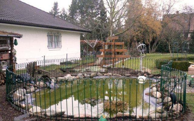 Grün angestrichener Metallzaun um den Teich gesteckt
