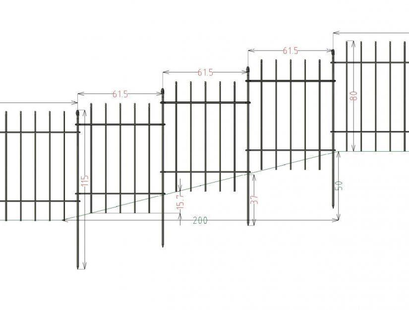 61,5 cm breite Elemente mit dem anneau-80 schafft bis zu 25,3 % Gefälle. 25 % sind eingezeichnet.