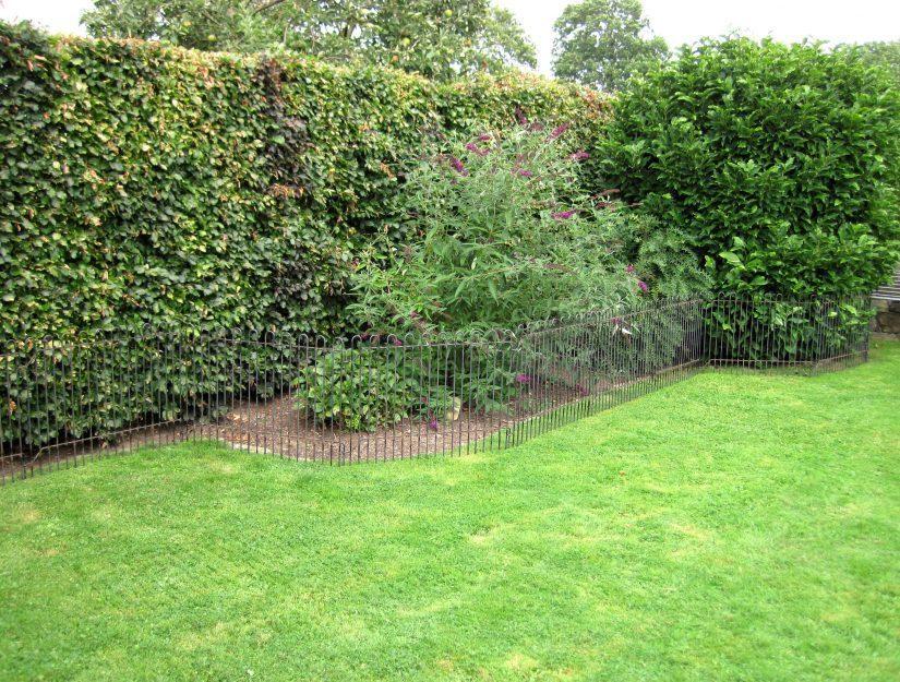 Zaun auf dem Rasen vor dem Beet und der Hecke.