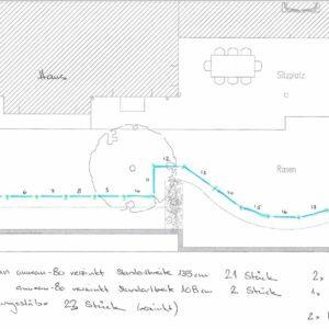 Kunden-Skizze für einen Zaun im Garten