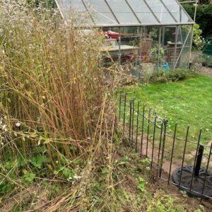 Der Garten ist mit dem Steckzaun sauber abgetrennt