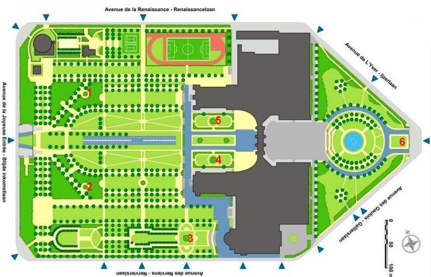 Lageplan der eingezäunten Blumenbeete im Stadtpark (rot 1-6)