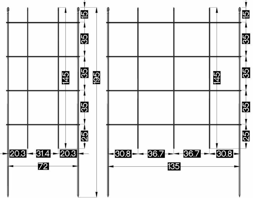Masse Rankspalier-145 cm hoch