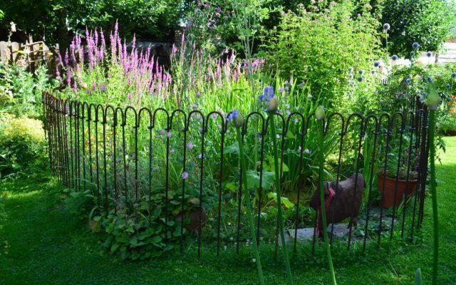 Zaun für einen blühenden Gartenteich