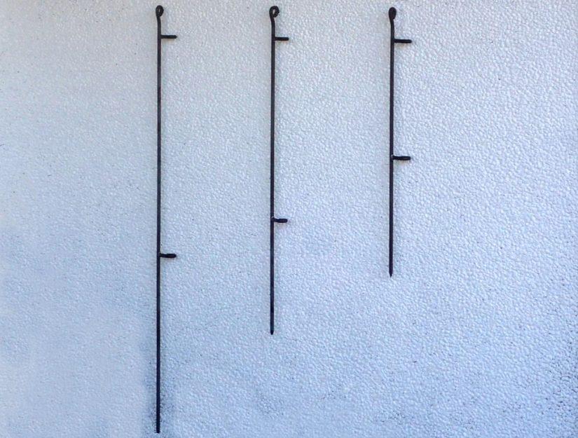 Die Scharnierpfosten 145-roh, 115-roh und 80-roh (dürfen rosten).