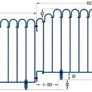 Poolzaun mit 13 cm hoher Stufe (Zeichnung aufgeklappt)