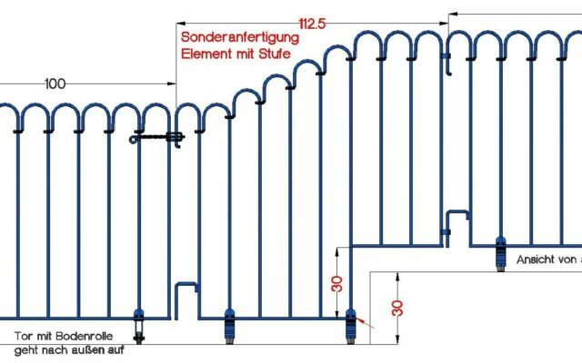 Poolzaun über Stufen – poolfix Elemente als Sonderanfertigung