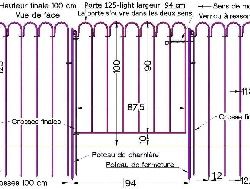 Intégration de la porte à la clôture étang light.
