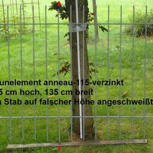 Zaunelement anneau-115-verzinkt,115 cm hoch, 135 cm breit, ein Stab auf falscher Höhe angeschweißt