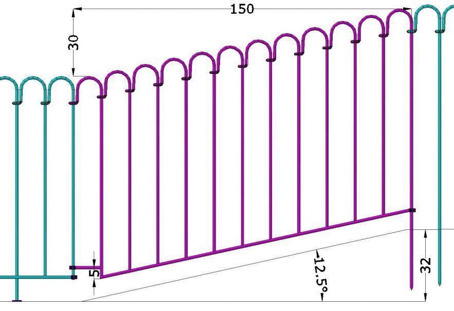 Zeichnung von einem schrägen Bachlaufelement für 32 cm Gefälle zu überbrücken