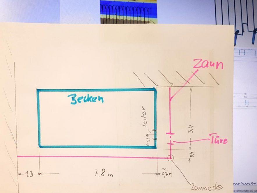 Kunden-Skizze mit Maßen wo das Schwimmbadgitter aufgestellt werden soll