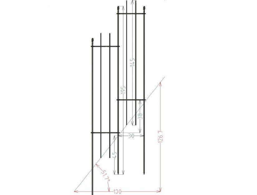 30 cm breite Elemente mit dem anneau-145 schafft bis zu 130,8 % Gefälle. 126,7 % sind eingezeichnet.