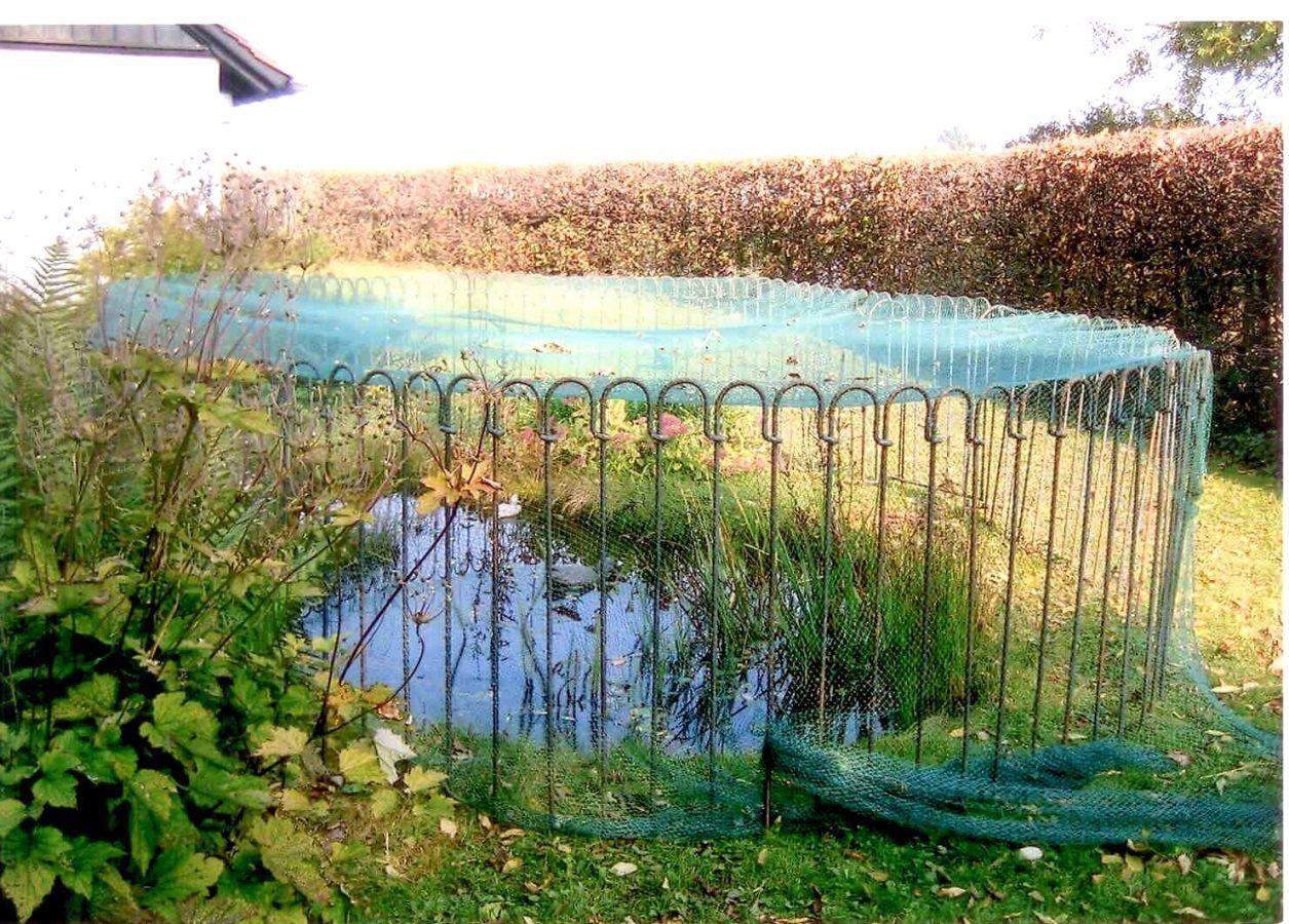 Ein Zaun Mit Netz Als Schutz Vor Dem Fischreiher Melabel Steckzaune