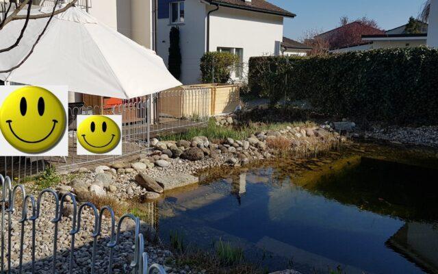 Teich- und Terrassenzaun hält Sohn vom Wasser ab