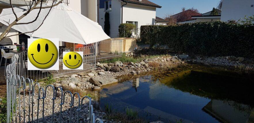 Der Teich- und Terrassenzaun sieht sehr schön aus und hält unseren Sohn vom Wasser ab