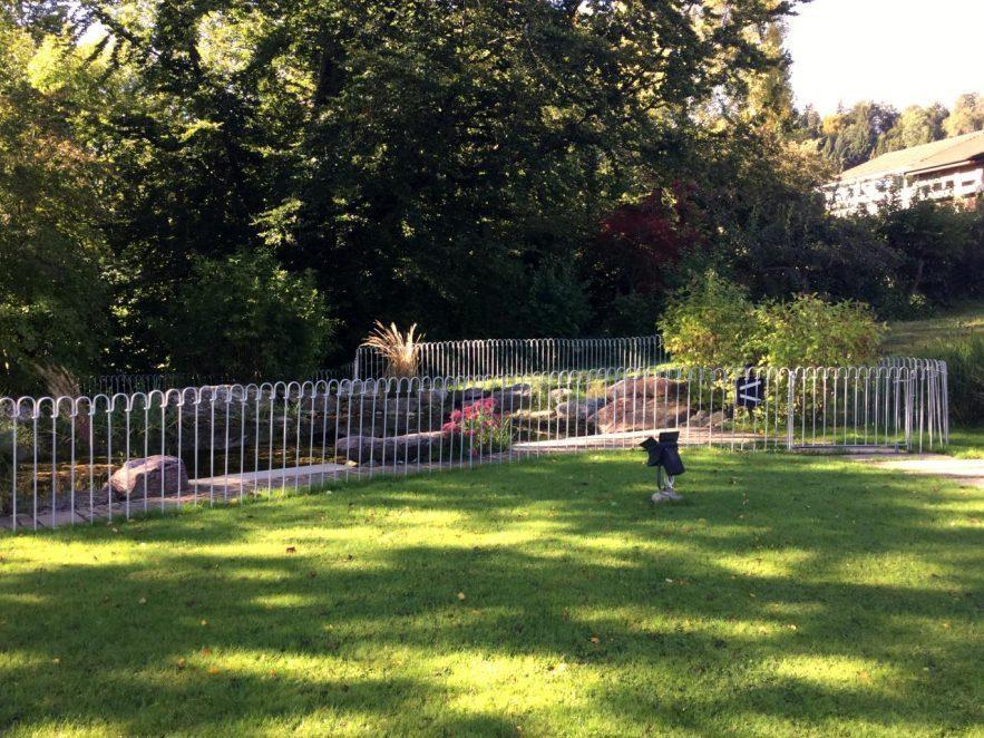 Die Teichanlage ist mit einem verzinkten Teichzaun gesichert