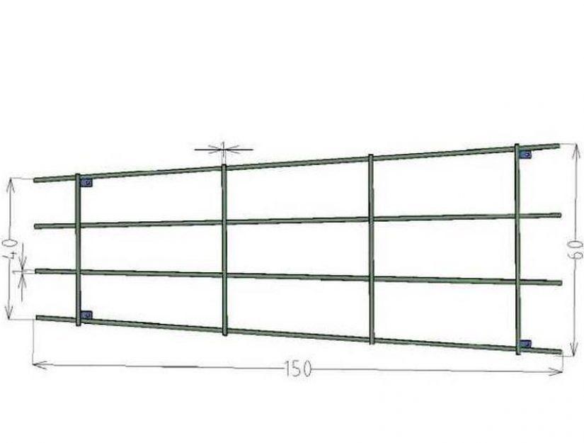 Dimensions extérieures du treillis mural : 150 x 40 à 60 cm. 5,1 - 5,4 kg.