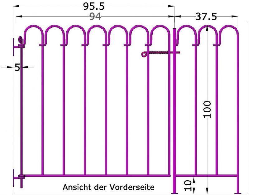 Bis zum Pfosten beträgt der Abstand von der Mauer 95,5 cm.