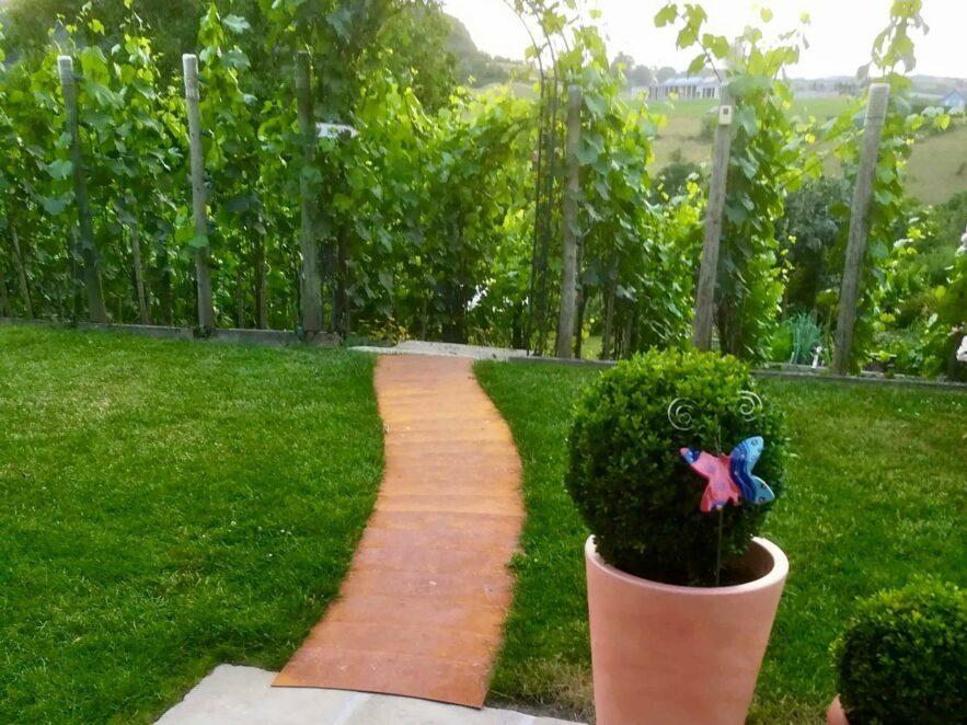 Weg aus rostigen Blechen zum Weinberg mit einem Zugang durch den Rosenbogen