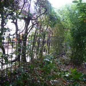 Leichter Zaun Aufbau an einer Hecke
