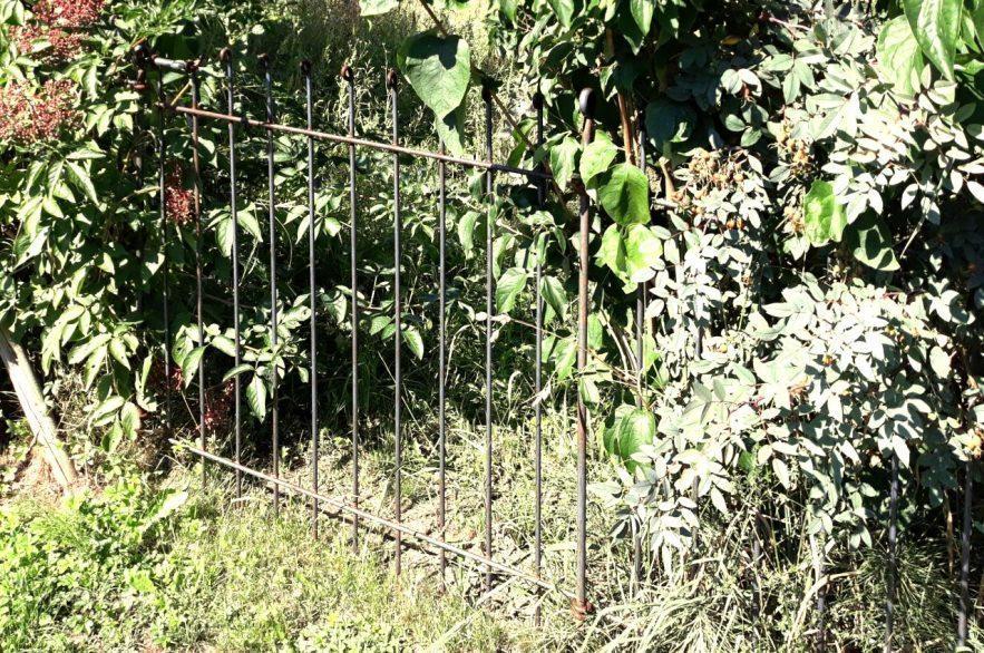Tür mit Riegel im Hundezaun 115 cm hoch, 108 cm breit passend zum rostigen Hundezaun