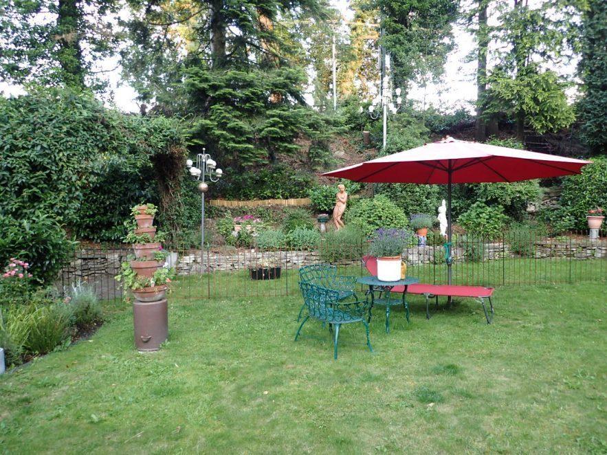 Hunde Gehege im Garten - der Zaun ist im Rasen eingesteckt