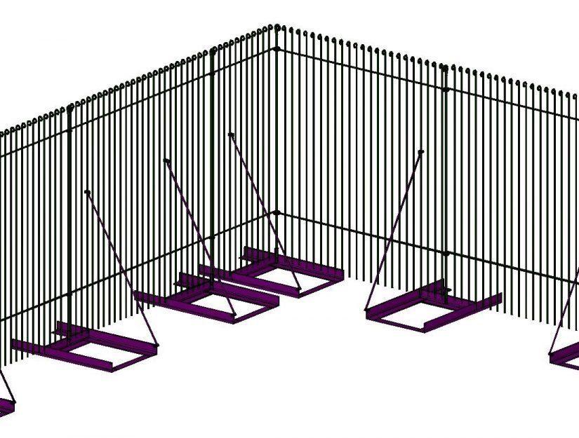 Zeichnung vom Zaun mit Boden-Ständer (Steller) und den Diagonalstreben.